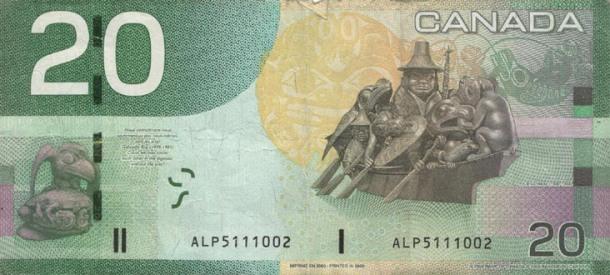 Canadian 20 Dollars Back