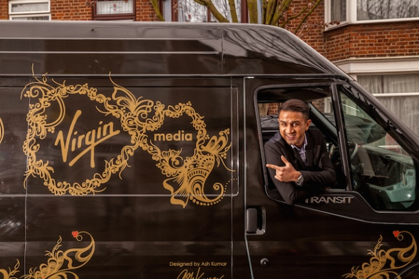 Van-tastic! Henna artist Ash Kumar gives Virgin Media vans a Bollywood makeover as 100,000 more homes in East London are connected to lightning-fast internet speeds for the first time (1)
